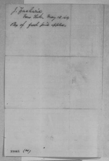 Isachar Zacharie to Abraham Lincoln, Friday, May 13, 1864  (Sends apples)