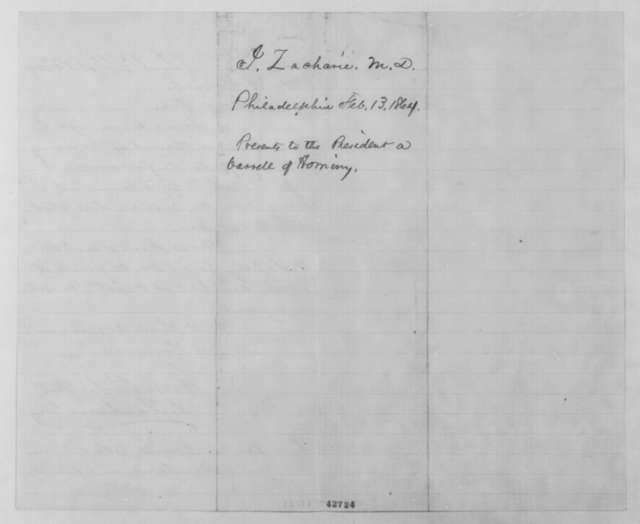 Isachar Zacharie to Abraham Lincoln, Saturday, February 13, 1864  (Sends barrel of hominy)