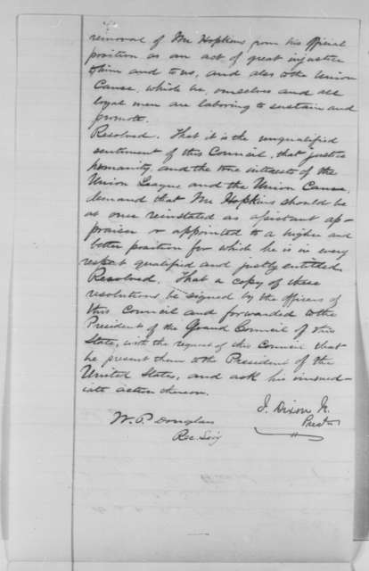 J. Dixon Jr. and W. P. Douglas to Abraham Lincoln, Tuesday, June 14, 1864  (Resolutions from New Jersey Union League protesting removal of Samuel Hopkins)