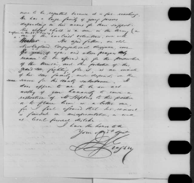 J. Gregory to Abraham Lincoln, Tuesday, June 14, 1864  (Removal of Samuel Hopkins)