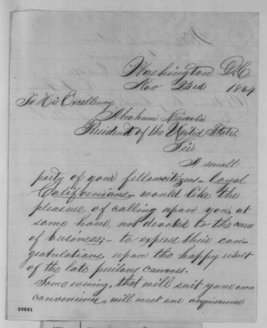 J. H. Wooley, H. A. Pierce, et al. to Abraham Lincoln, Wednesday, November 23, 1864  (Request interview)