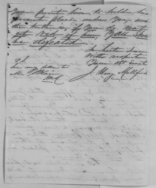J. Henry Mullford to Abraham Lincoln, Wednesday, April 27, 1864  (Salmon P. Chase's presidential ambitions)