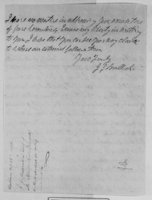 J. J. Bullock to Abraham Lincoln, Saturday, October 22, 1864  (Case of Hamilton Easter)