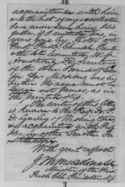 J. M. MacDonald to Abraham Lincoln, Monday, March 14, 1864  (Case of Rev. Armstrong)