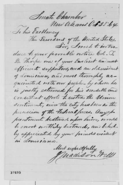 J. Madison Wells to Abraham Lincoln, Friday, October 28, 1864  (Introduction)