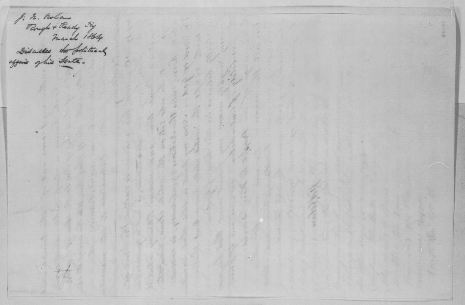 J. N. Nolan to Abraham Lincoln, March 1864  (Political affairs in Kentucky)