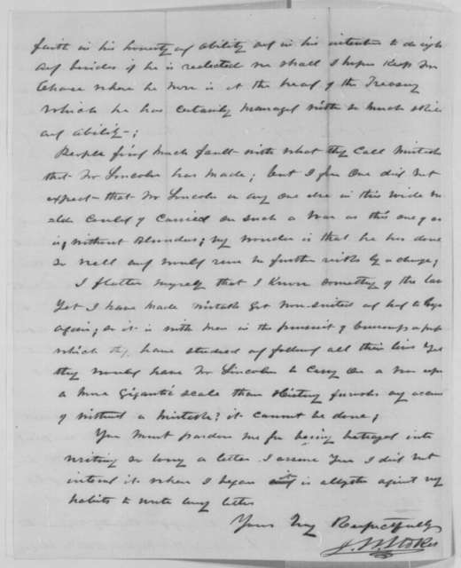 J. W. Stokes to Isaac Newton, Wednesday, February 10, 1864  (Presidential politics)