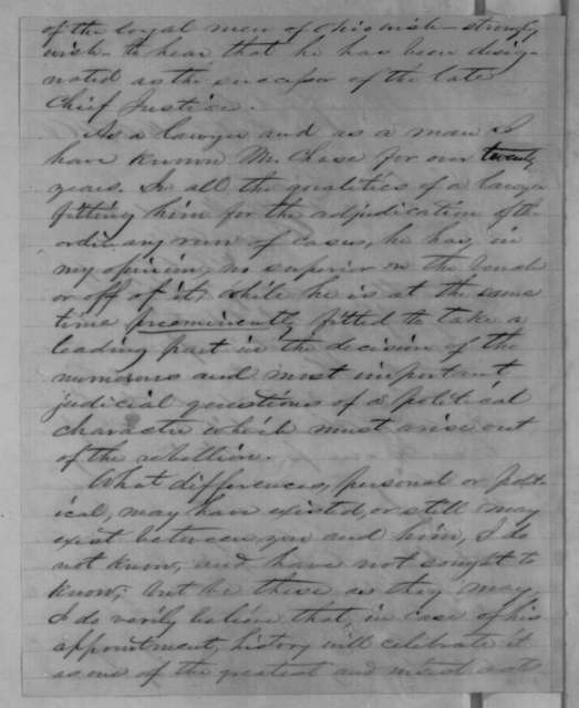 Jacob Brinkerhoff to Abraham Lincoln, Friday, October 14, 1864  (Recommends Salmon P. Chase for Chief Justice)