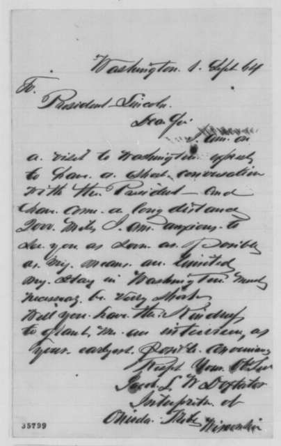 Jacob L. W. Doxtator to Abraham Lincoln, Thursday, September 01, 1864  (Seeks interview)