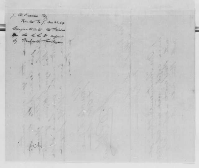 Jacob R. Freese to Abraham Lincoln, Friday, December 23, 1864  (Honorary degree from Princeton)