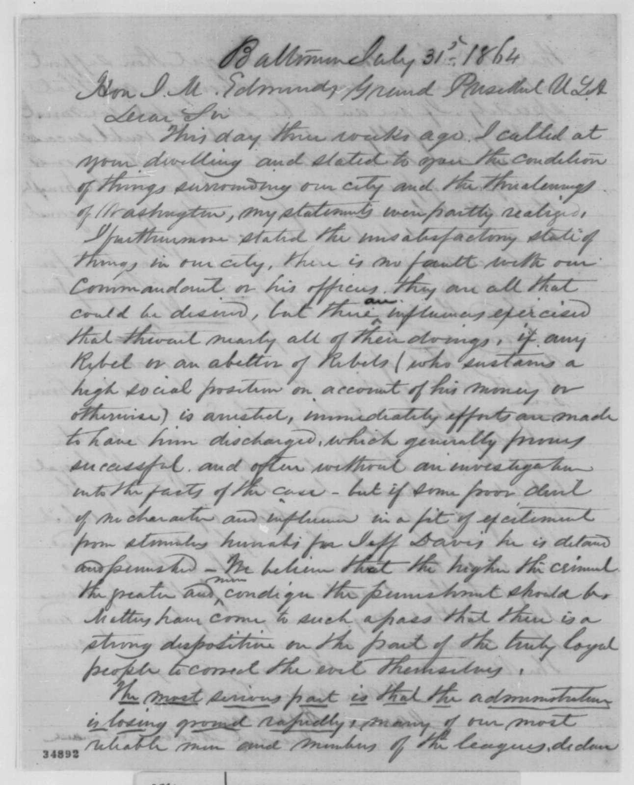 James Armitage to James M. Edmunds, Sunday, July 31, 1864  (Political affairs)