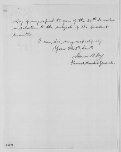 James B. Fry to Edwin M. Stanton, Saturday, January 02, 1864  (Payment of bounties to recruits)