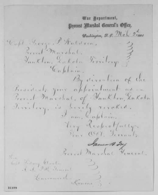 James B. Fry to George P. Waldron, Wednesday, March 02, 1864  (Removal of Waldron from office)