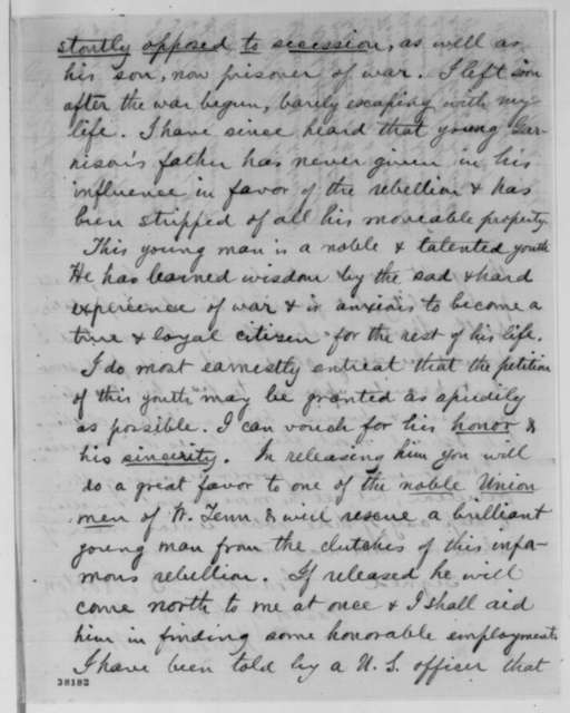 James B. Garrison to William Hoffman, Friday, November 11, 1864  (Garrison ready to take loyalty oath; with letter from Franklin B. Norton to Abraham Lincoln and endorsed by J. L. Hodges)