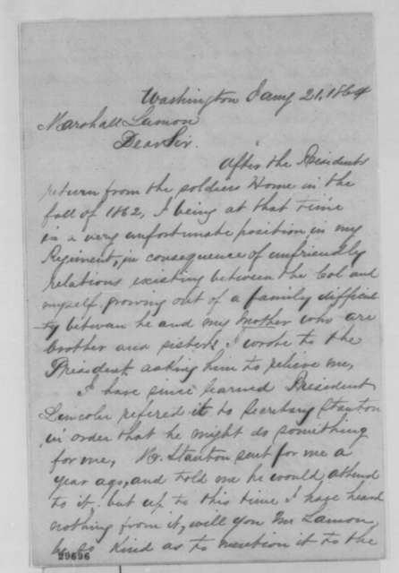 James B. Mix to Ward H. Lamon, Thursday, January 21, 1864  (Seeks office)