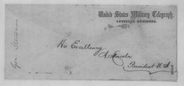 James B. Steedman to Abraham Lincoln, Thursday, September 15, 1864  (Telegram concerning Mrs. McElrath)