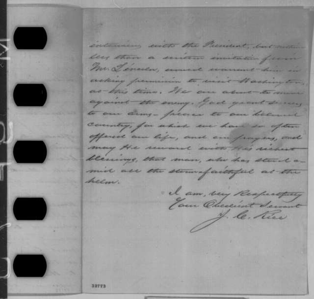 James C. Rice to John P. Usher, Monday, May 02, 1864  (Recommends Lincoln invite John Minor Botts to Washington)