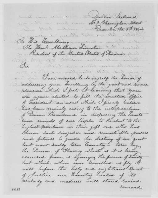 James Costelloe to Abraham Lincoln, Thursday, December 08, 1864  (Congratulations)