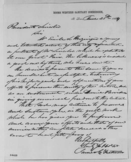 James E. Yeatman to Abraham Lincoln, Saturday, June 25, 1864  (Introduces Emile Herzinger)