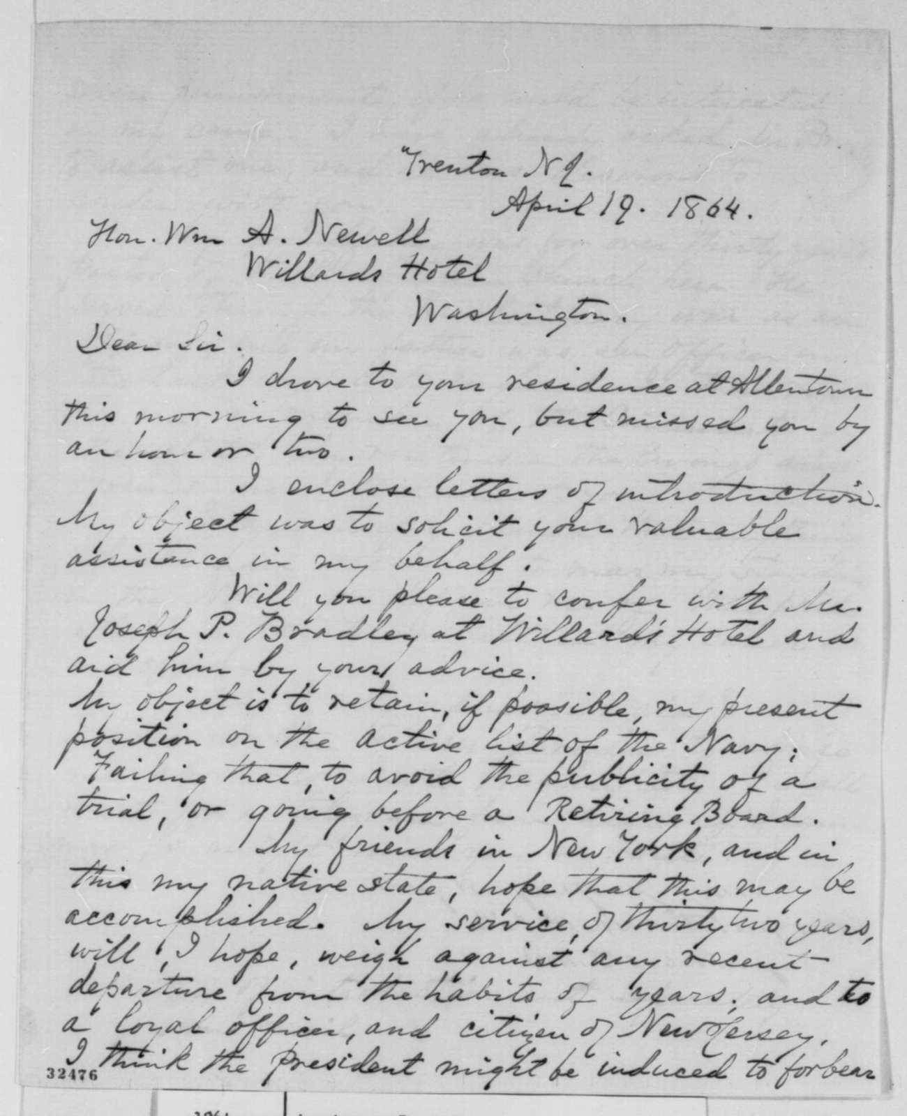 James F. Armstrong to William A. Newell, Tuesday, April 19, 1864  (Wants to be restored to rank in the navy)