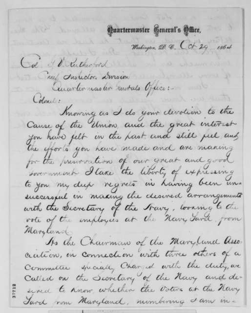 James G. Henning to George V. Rutherford, Saturday, October 29, 1864  (Employees at Maryland navy yard unable to vote)