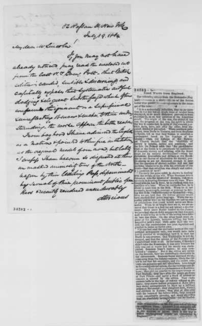James H. Hackett to Abraham Lincoln, Tuesday, July 19, 1864  (Sends clipping)