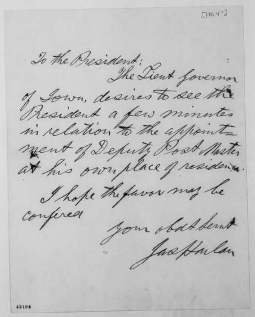 James Harlan to Abraham Lincoln, [1864]  (Introduction)