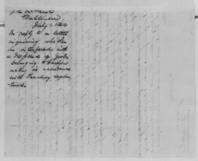 James L. McPhail to Abraham Lincoln, Friday, July 01, 1864  (Seizure of property in Maryland)