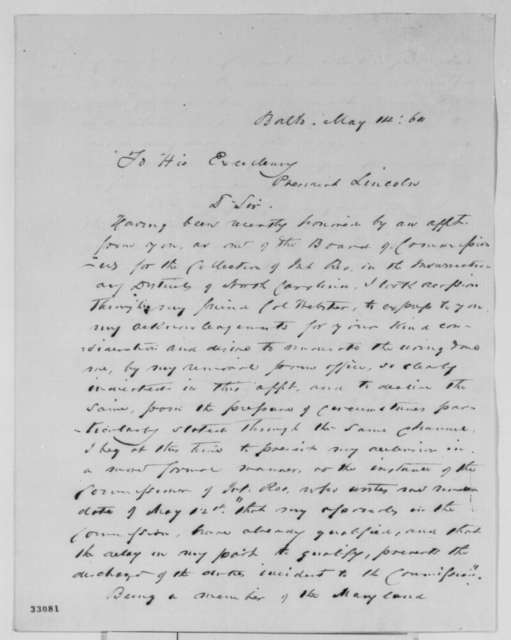 James L. Ridgley to Abraham Lincoln, Saturday, May 14, 1864  (Appreciates his appointment)