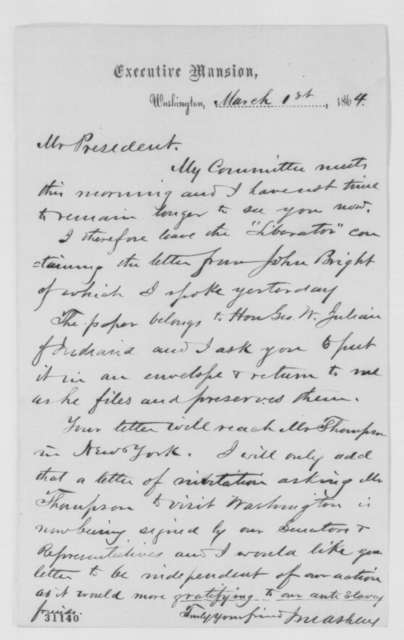 James M. Ashley to Abraham Lincoln, Tuesday, March 01, 1864  (Letter to George Thompson)