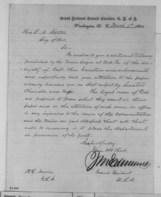 James M. Edmunds to Edwin M. Stanton, Tuesday, March 01, 1864  (Disloyalty of Charles Garretson)
