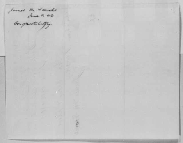 James M. Scovel to Abraham Lincoln, Wednesday, June 08, 1864  (Telegram in support of Lincoln's re-nomination)