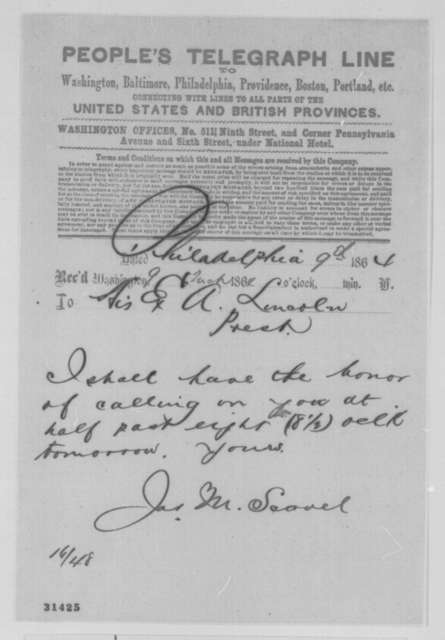 James M. Scovel to Abraham Lincoln, Wednesday, March 09, 1864  (Telegram requesting interview)