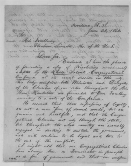 James P. Root to Abraham Lincoln, Monday, June 20, 1864  (Sends resolutions from Rhode Island Congregationalists)