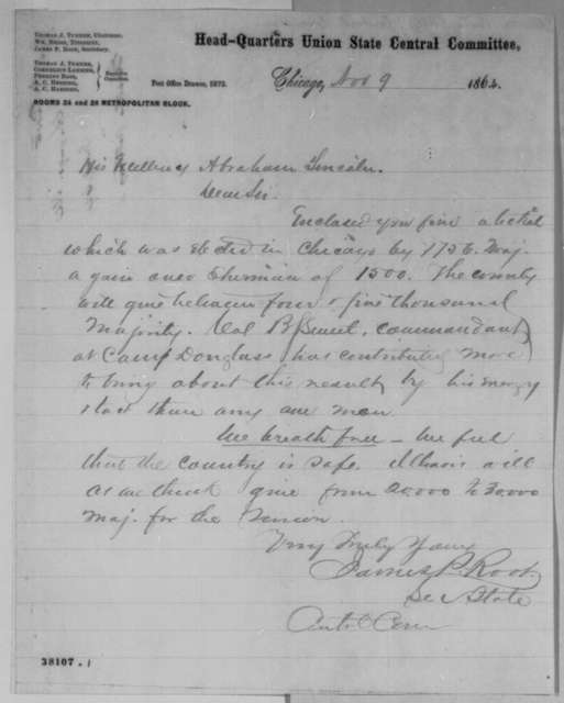 James P. Root to Abraham Lincoln, Wednesday, November 09, 1864  (Illinois election results)