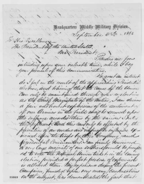 James R. Hosmer to Abraham Lincoln, Saturday, September 03, 1864  (Soldier vote in upcoming election)