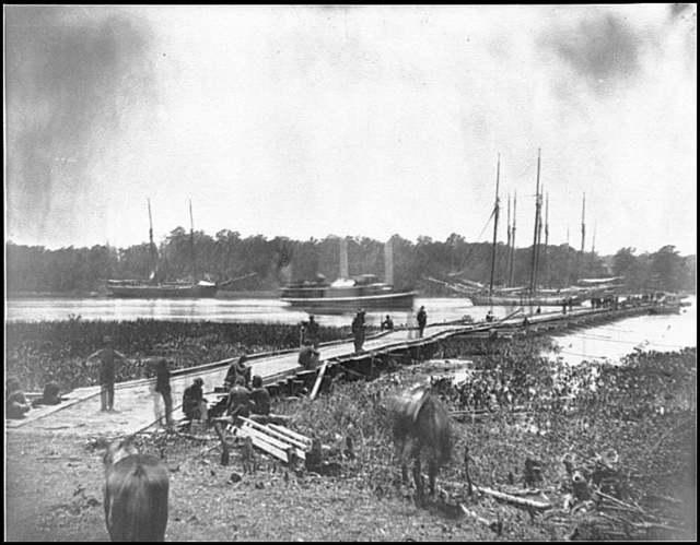 [James River, Va. Pontoon bridge]