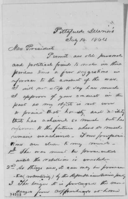 James S. Irwin to Abraham Lincoln, Saturday, July 16, 1864  (Political and military advice)