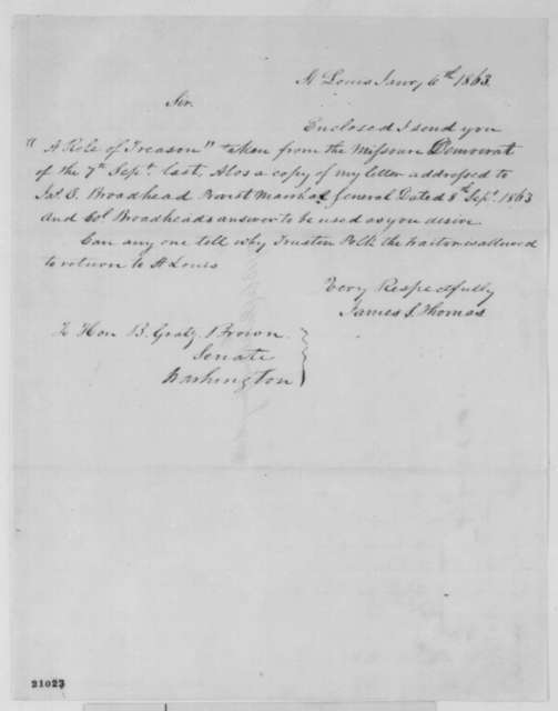 James S. Thomas to Benjamin Gratz Brown, Wednesday, January 06, 1864  (Cover letter (original misdated))