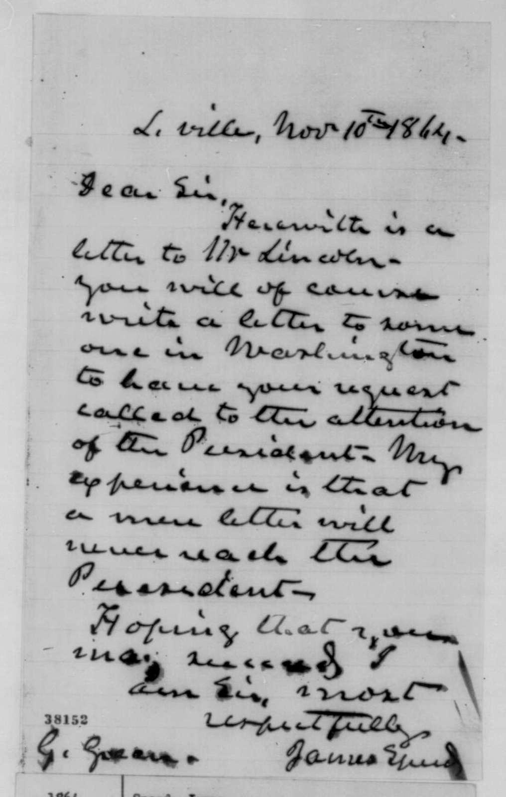 James Speed to Grant Green, Thursday, November 10, 1864  (Cover letter)