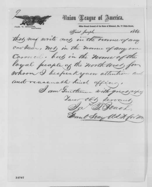 James T. Beach to Western Union Advisory Committee, St. Louis, Missouri, Friday, July 22, 1864  (Patronage at St. Joseph, Missouri)