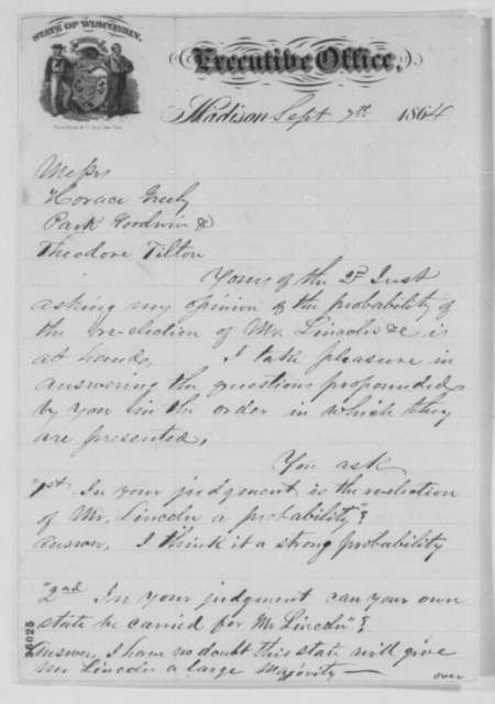 James T. Lewis to Horace Greeley, Theodore Tilton, and Parke Godwin, Wednesday, September 07, 1864  (Prospects for Lincoln's reelection; endorsed by Lewis)