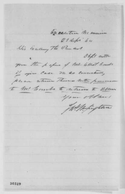 James W. Singleton to Abraham Lincoln, Wednesday, September 21, 1864  (Requests return of papers)