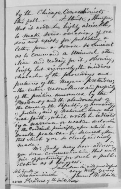 James W. White to Abraham Lincoln, Friday, July 22, 1864  (Peace negotiations at Niagara Falls)