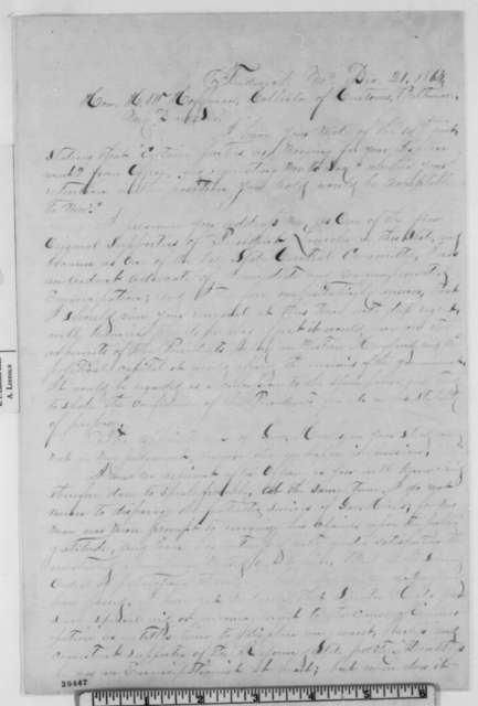 James Whitehill to Henry W. Hoffman, Wednesday, December 21, 1864  (Support)