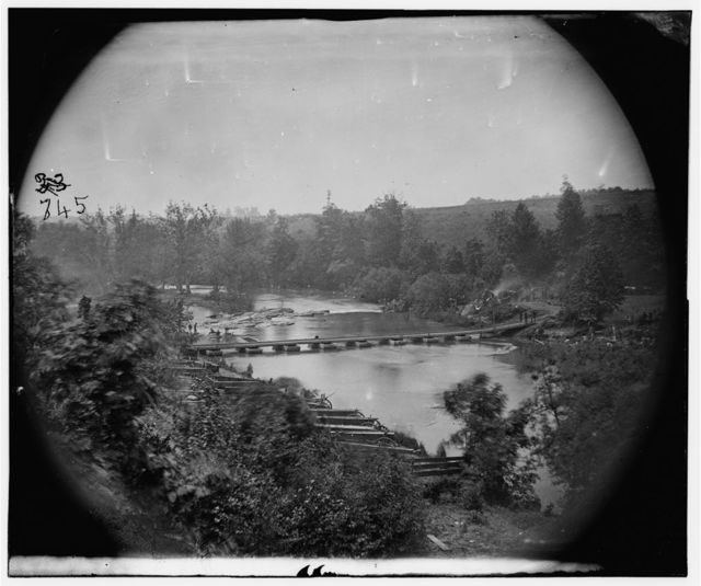Jericho Mills, Virginia. Canvas pontoon bridge across the North Anna, constructed by the 50th New York Engineers, where the 5th  Corps under Gen. Warren crossed. View looking down stream from north bank