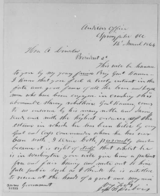 Jesse K. Dubois to Abraham Lincoln, Monday, March 14, 1864  (Introduction)