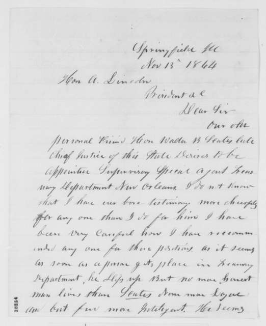 Jesse K. Dubois to Abraham Lincoln, Sunday, November 13, 1864  (Recommendation)