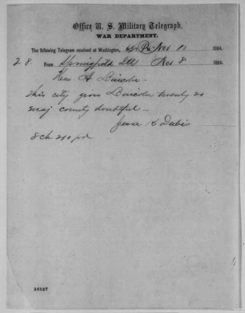 Jesse K. Dubois to Abraham Lincoln, Tuesday, November 08, 1864  (Telegram reporting Springfield, Illinois election results)