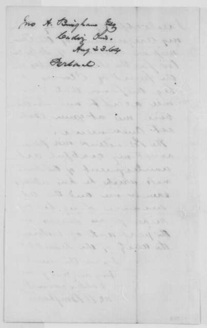 John A. Bingham to Abraham Lincoln, Tuesday, August 23, 1864  (Declines appointment)